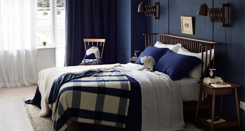 Country Bedroom Navy Blue Walls Room