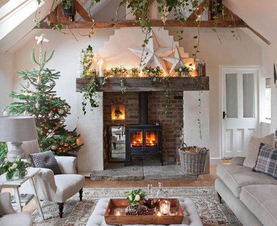 Country Christmas Living Room Inspired Deco