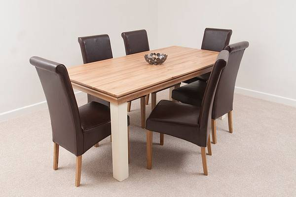 Country Cottage Painted Dining Table Back Leather Chairs