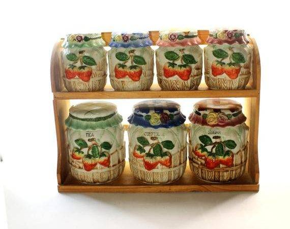 Country Kitchen Canister Set Strawberry Hobartcollectables