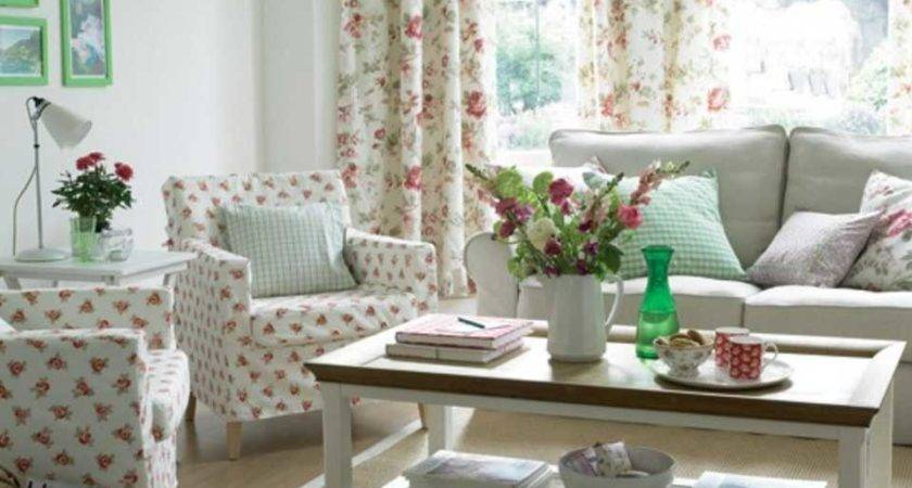 Country Living Rooms White Theme Red Floral