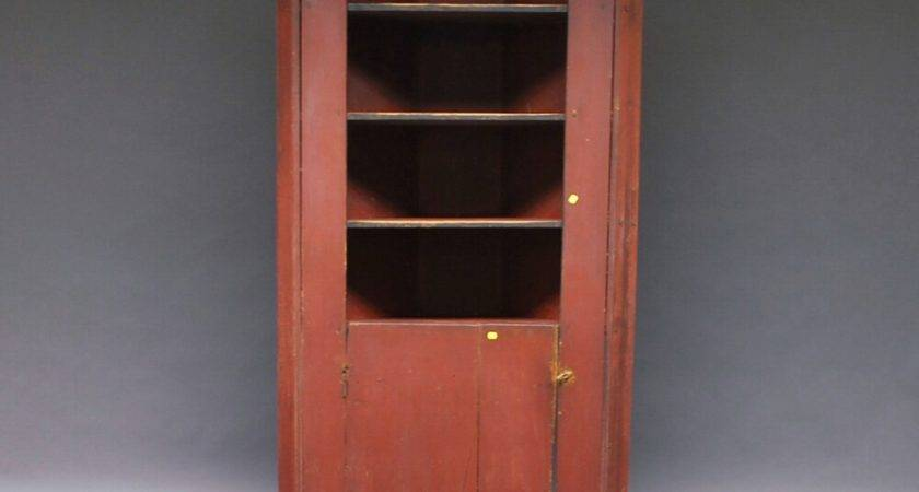 Country Red Painted Built Corner Cupboard Bidsquare