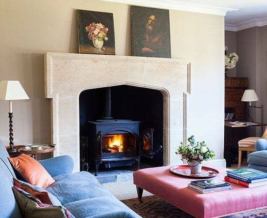 Country Sitting Room Stone Fireplace Living