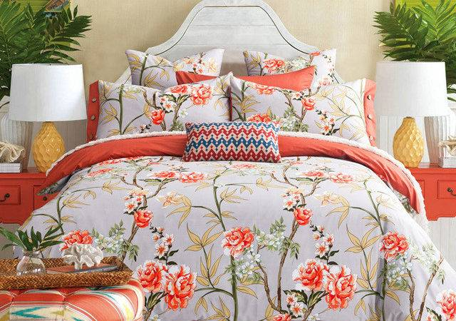 Country Style Colored Floral Print Bedding Set Queen King