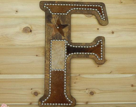 Cowhide Wall Letter Western Home Decor Lizzyandme