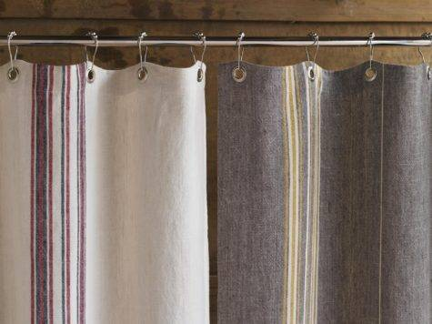 Coyuchi Rustic Linen Shower Curtain Color Gray Mustard