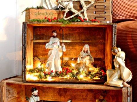 Cozy Old Farmhouse Rustic Nativity Crates