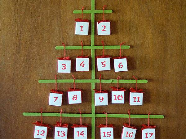 Craft Stick Christmas Tree Advent Calendar Origami
