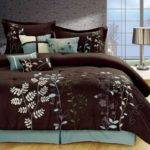 Cream Brown Bedding Blue Paisley Comforters