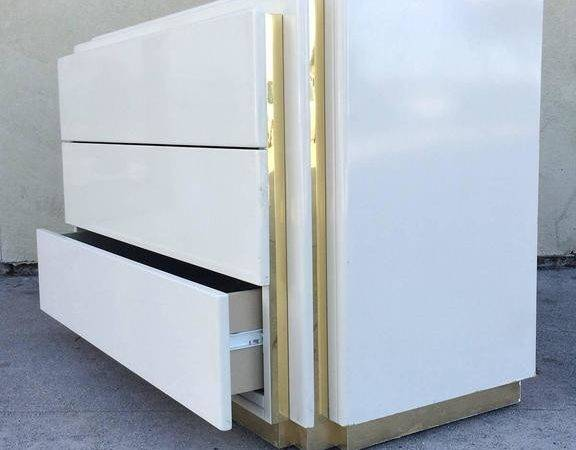 Cream Lacquer Chest Drawers Rougier Stdibs