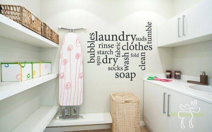 Creative Wall Sticker Pattern Laundry Room Decor Ideas
