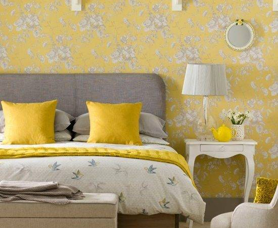 Creative Yellow Grey Bedroom Decorating Ideas Regarding