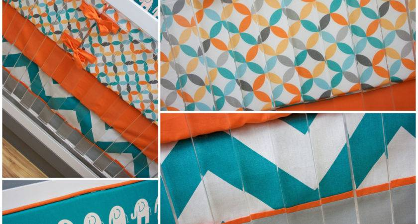 Crib Bedding Boy Turquoise Orange Aqua Gray Baby