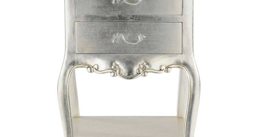Cristal French Silver Leaf Bedside Table Drawers