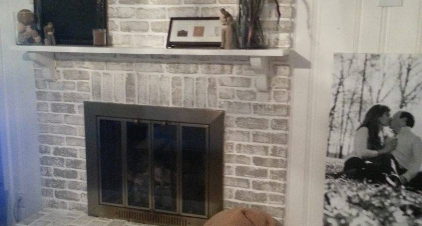 Crux Grey Paint Wash Brick Fireplace Before