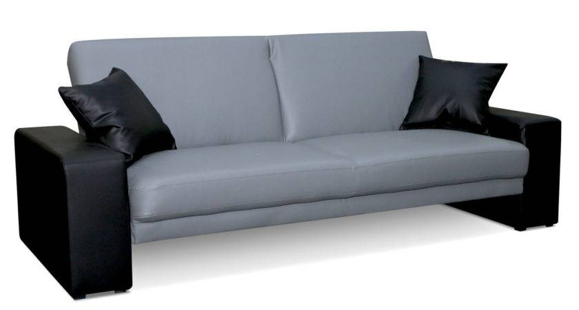 Cuba Leather Sofa Bed Grey Black Next Day Delivery