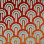 Curtain Fabric Designer Upholstery Art Deco Orange Deep