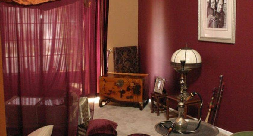 Curtains Burgundy Living Room Bed