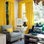 Curtains Yellow Walls Blue Decorating Color