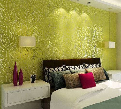 Curve Line Non Woven Feature Wall Bedroom