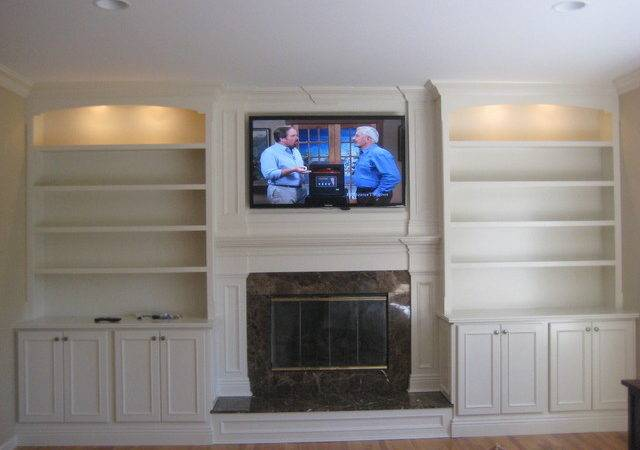 Custom Built Mantle Cabinets Bookshelves