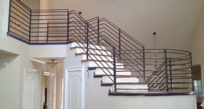 Custom Interior Stair Railing Metal Fabrication