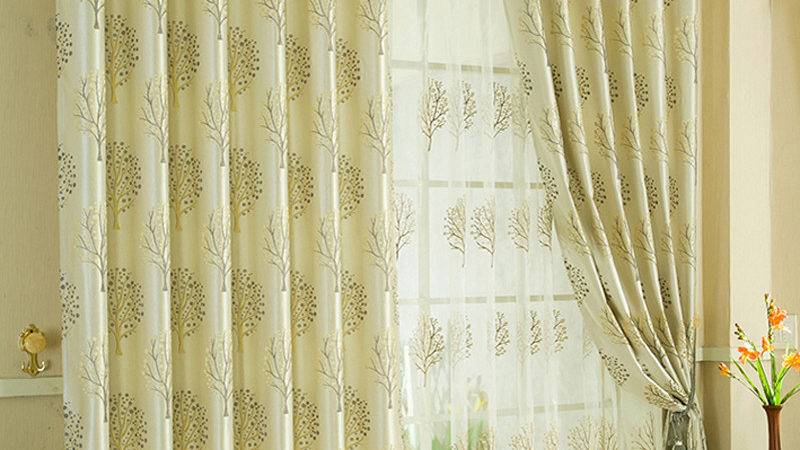 Custom Made Curtains Beige Color Tree Patterned