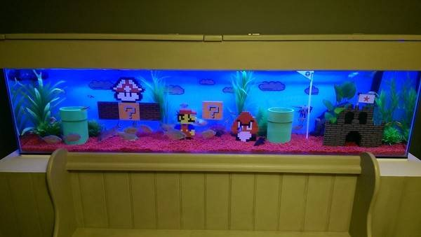 Custom Super Mario Lego Aquarium Decoration Ornaments