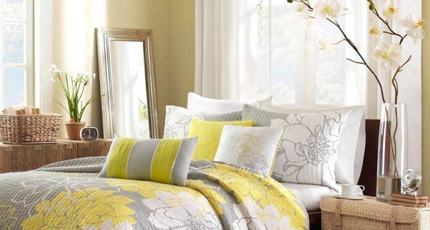 Cute Grey Yellow Bedroom Incredible Homes Ideas