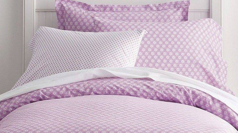 Daisy Dot Lilac Percale Kids Sheets Bedding Set
