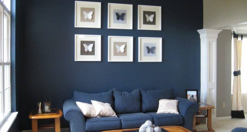 Dark Blue Living Room Decorating Idea White Cushion
