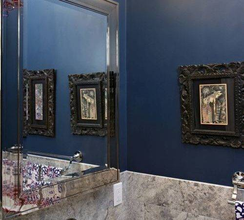 Dark Blue Powder Room Pixshark