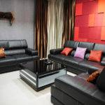 Dark Brown Living Room Accent Wall