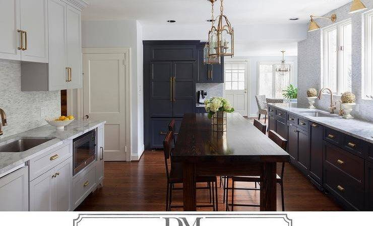 Dark Gray Kitchen Cabinets Brass Pulls Transitional