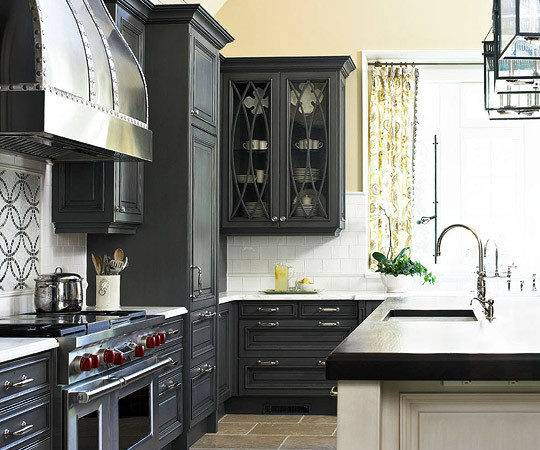 Dark Gray Kitchen Cabinets Transitional