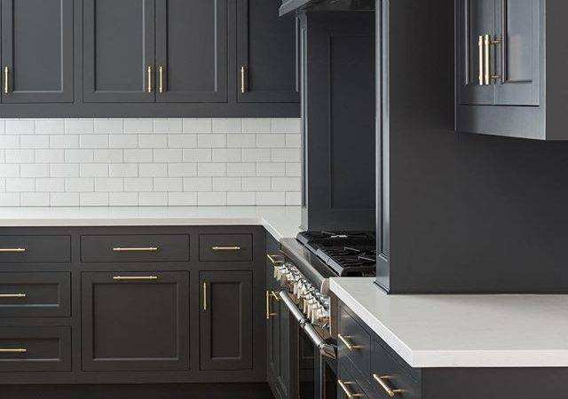 Dark Grey Cabinets Kitchen