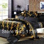 Dark Grey Gold Man Quality Cotton Bedding Set Queen