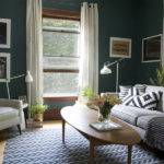 Dark Teal Living Room Black White Accents