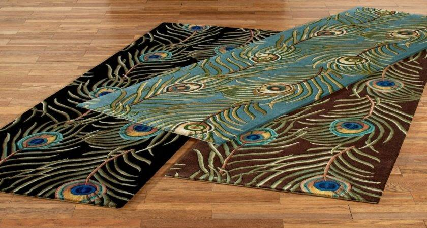 Decorate Table Peacock Colored Area Rug Feather