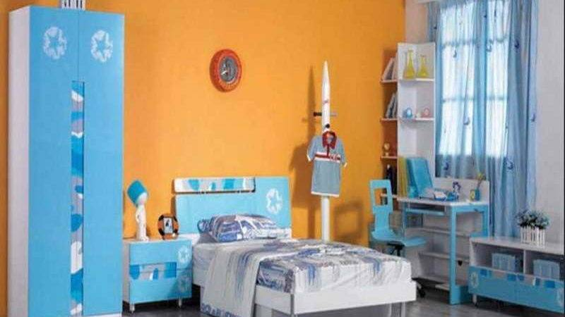 Decoration Orange Blue Kids Bedroom Paint Ideas