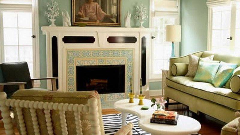 Decoration Pale Blue Green Paint Color Living Room