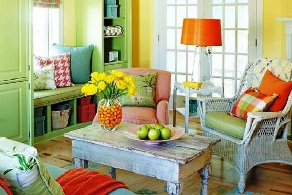 Decoration Rustic Living Room Decor Triad Yellow