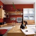 Decorations Red Wall Living Room Modern Interior Paint