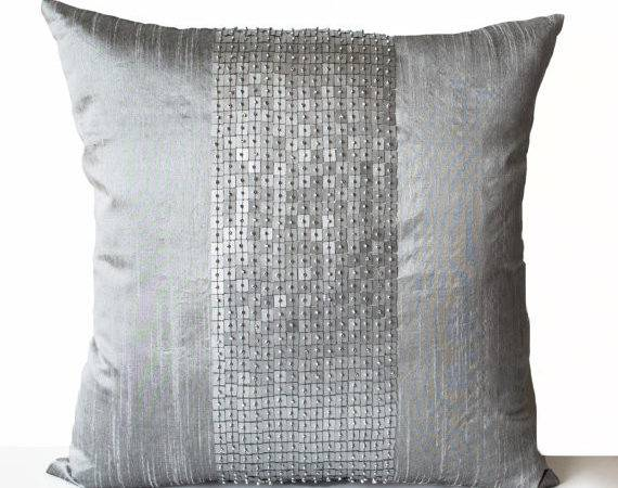 Decorative Throw Pillows Grey Color Block Silk