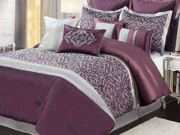 Deep Purple Silver Gray Embroidered Design Comforter