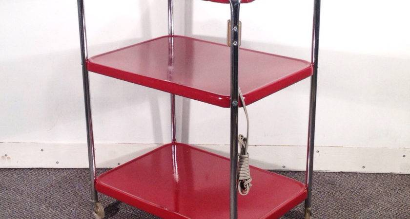 Deep Red Metal Kitchen Cart Vintage Rolling