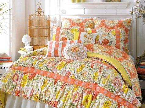 Dena Home Nostalgia Meadow European Sham Orange Pink Green