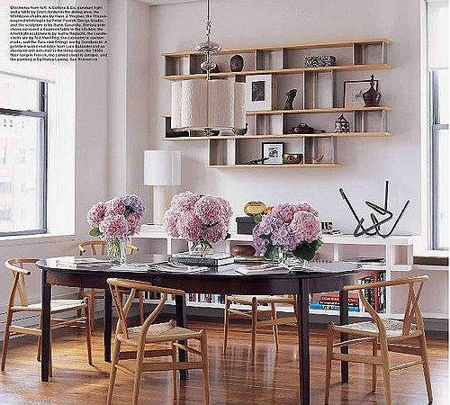 Dining Room Library Floating Shelves Wegner Wishbone