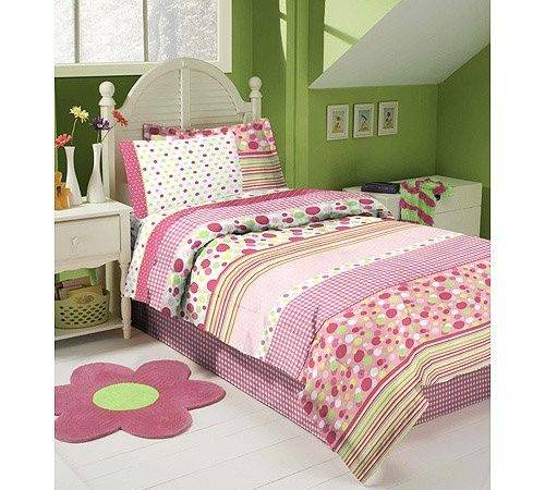Discount Pink White Lime Green Gingham Polka Dot Twin