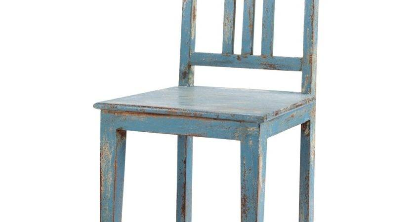 Distressed Mango Wood Chair Grey Blue Avignon Maisons